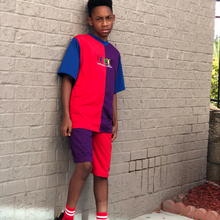 Load image into Gallery viewer, Back In The Day Colorblock Shirt (Male) - Blue/Red/Purple - 2dope4kidz.myshopify.com