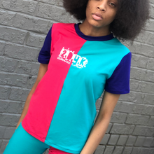 Load image into Gallery viewer, Back In The Day Colorblock Shirt (Female) - Blue/Pink/Purple - 2dope4kidz.myshopify.com