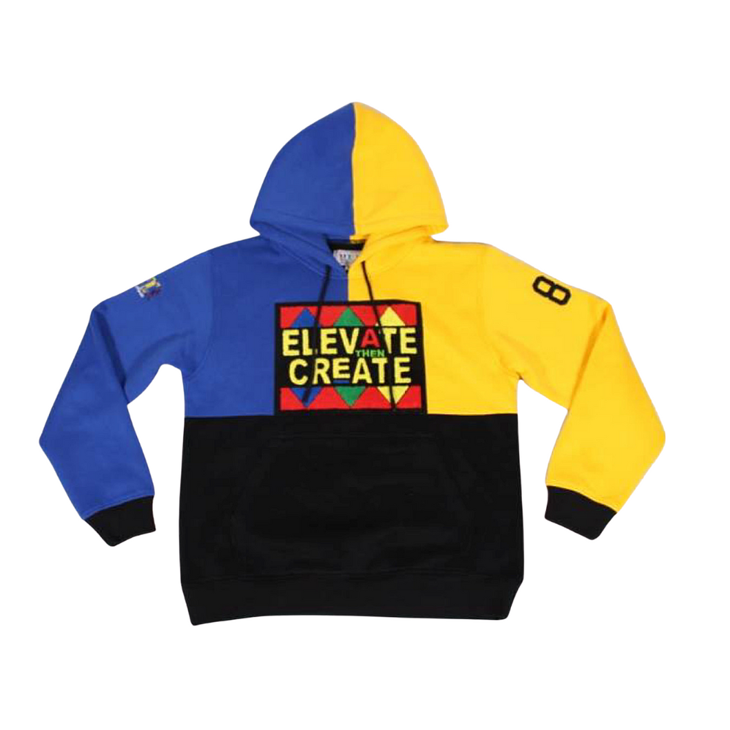 Elevate Then Create Colorblock Hoodie - Blue/Yellow/Black - 2dope4kidz.myshopify.com