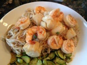 Asian Sweet Chili Shrimp & Scallops with Sesame Noodles