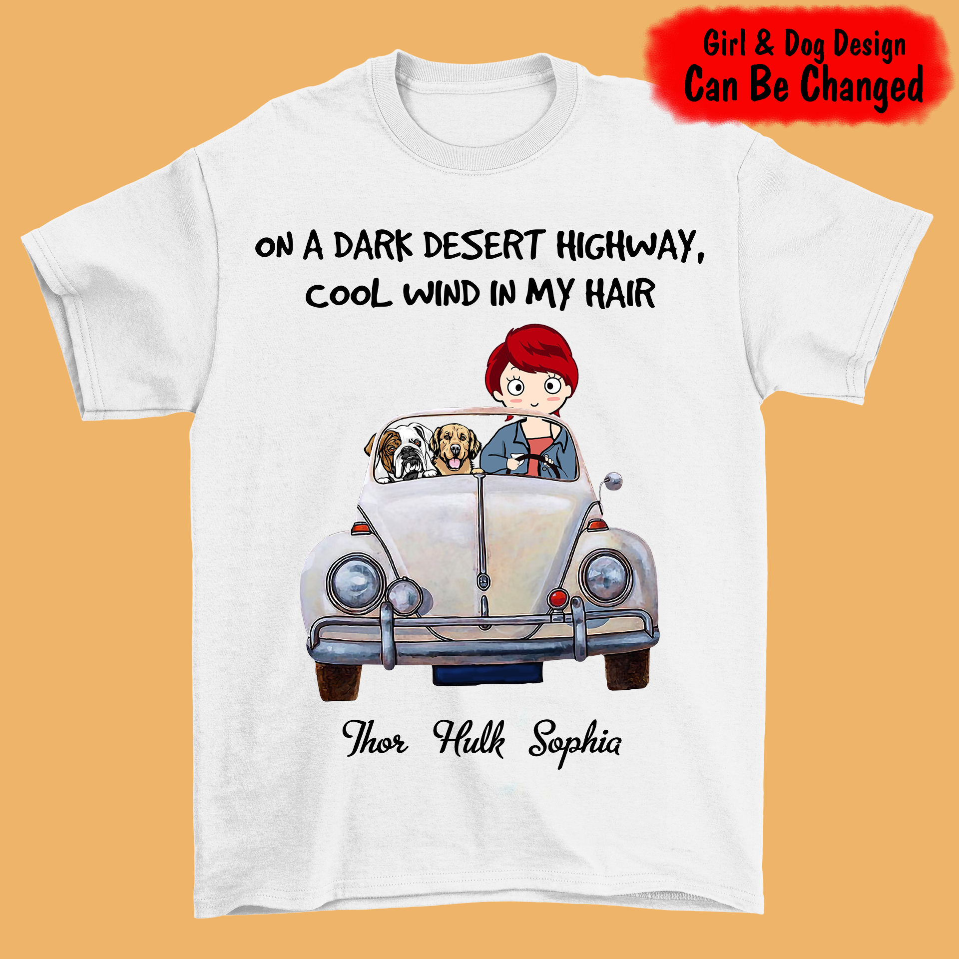 On A Dark Desert Highway, Cool Win In My Hair Personalized Girl & Dog Shirt - HNT8081
