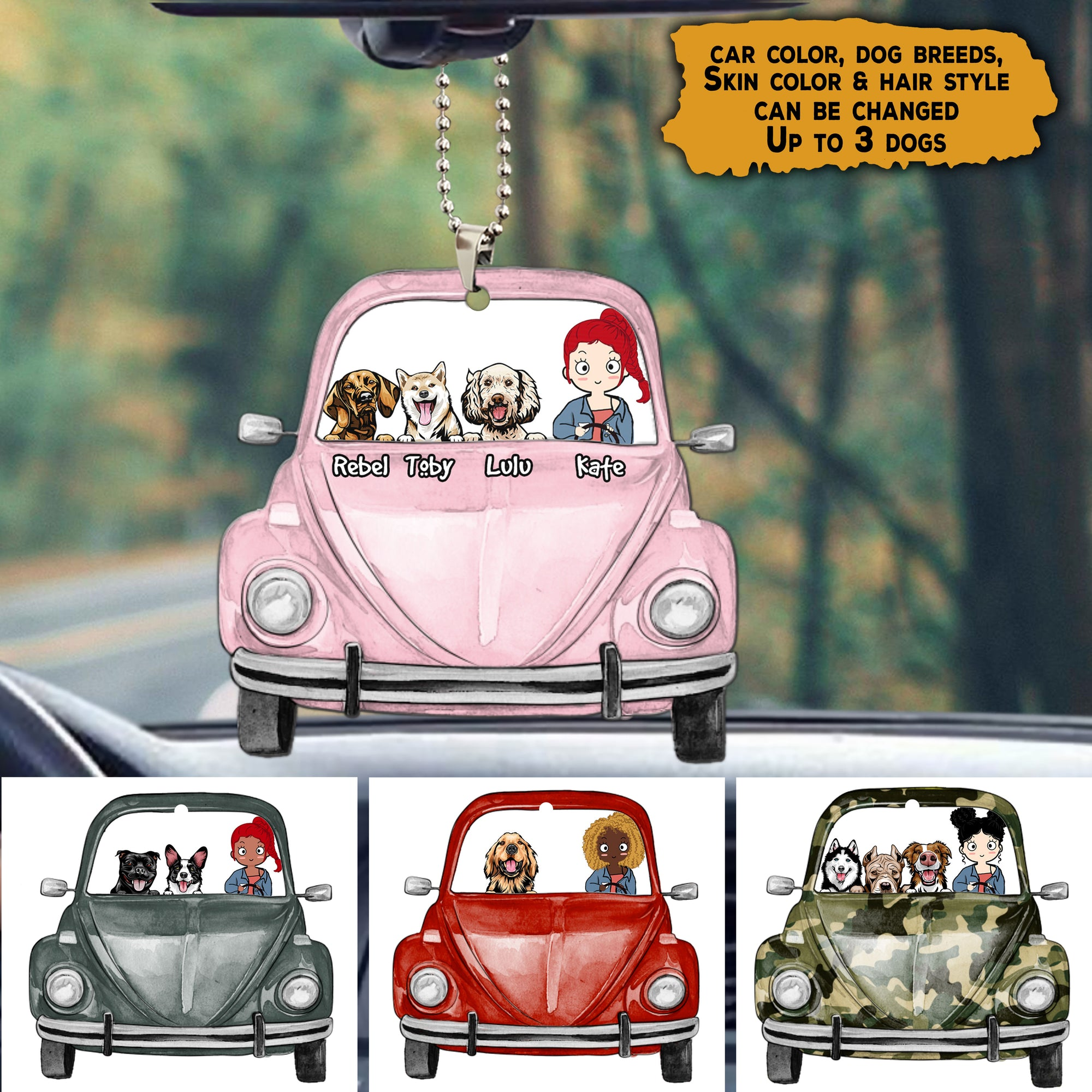 Personalized Girl & Dog Car Ornament