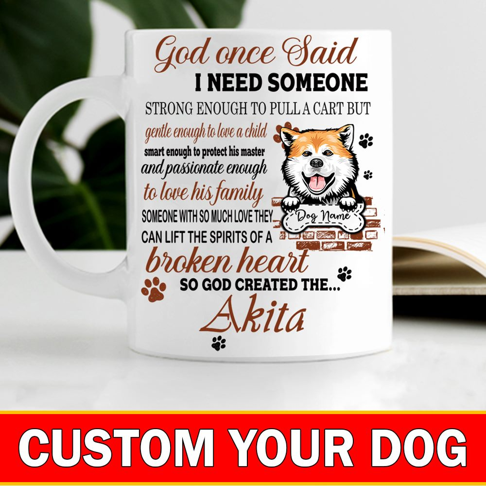 Personalized God Knew What I Need He Created My Dog, Coffee Cup, Enamel Mug, Gift Idea For Dog Lovers