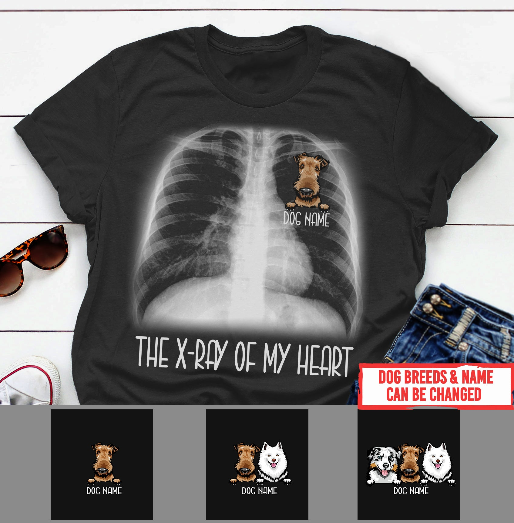 Personalized Dog Shirt - The X-ray of my heart