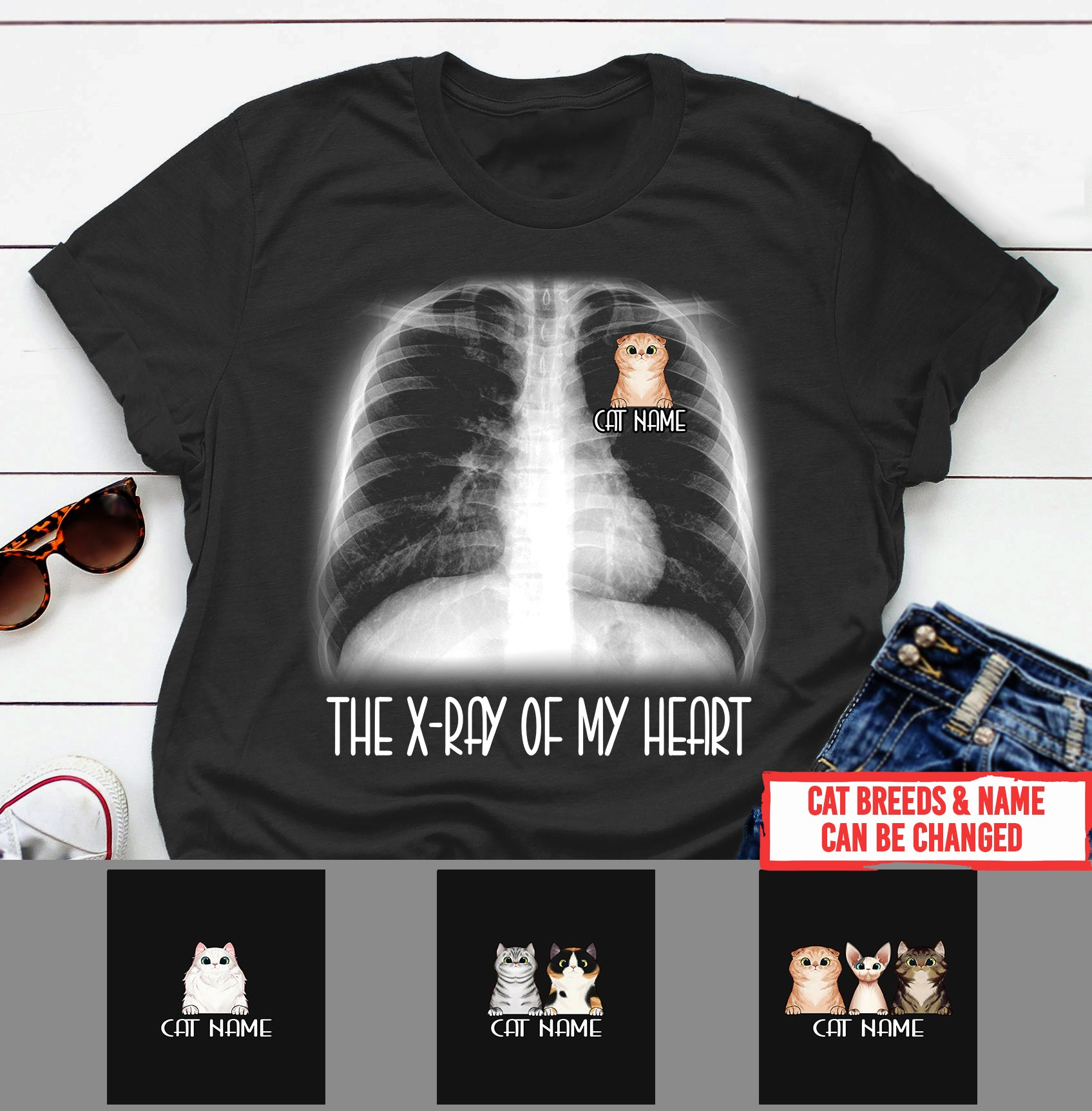 Personalized Cat Shirt - The X-ray of my heart