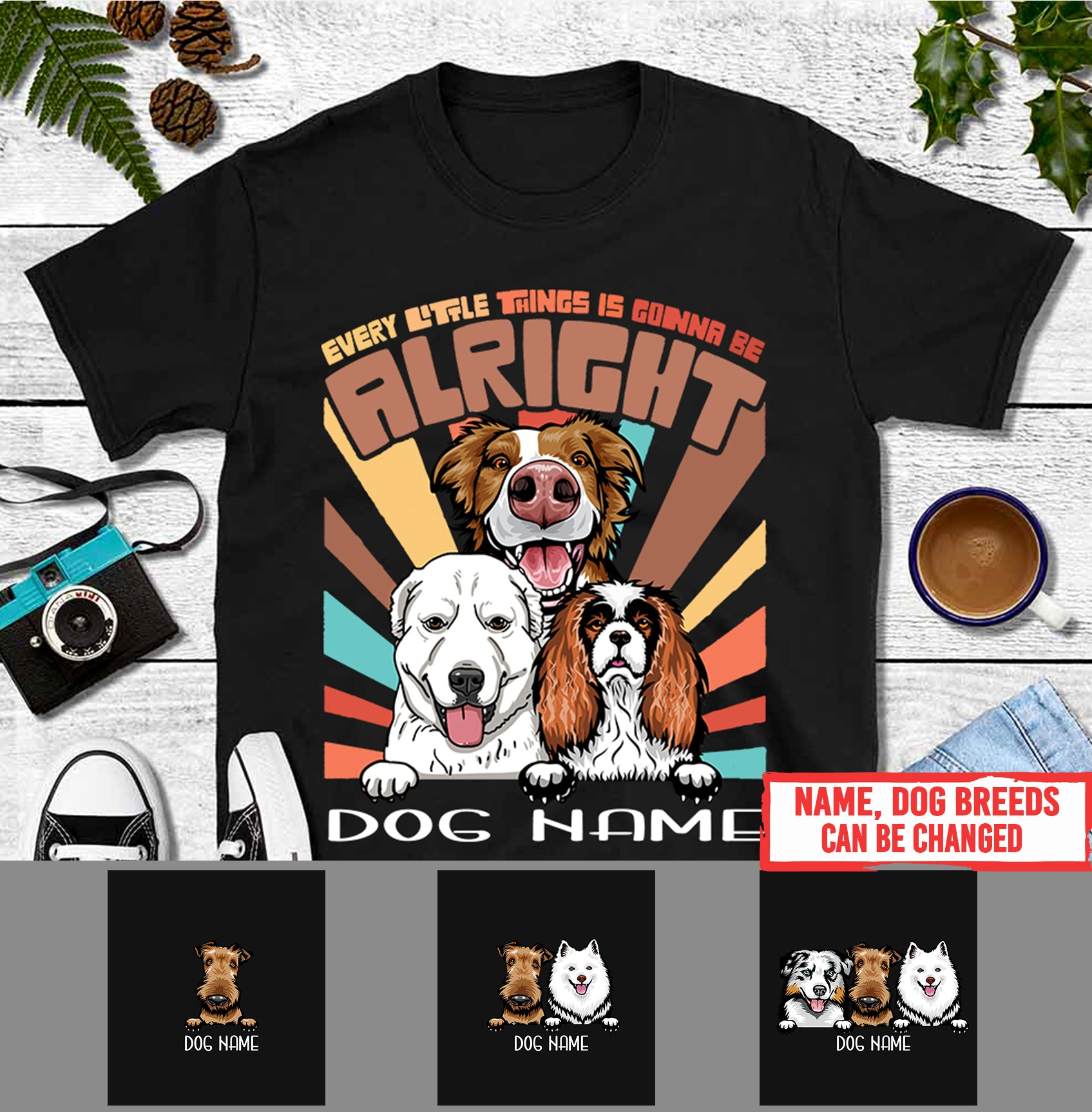 Personalized Dog Vintage Shirt - Every little things is gonna be alright