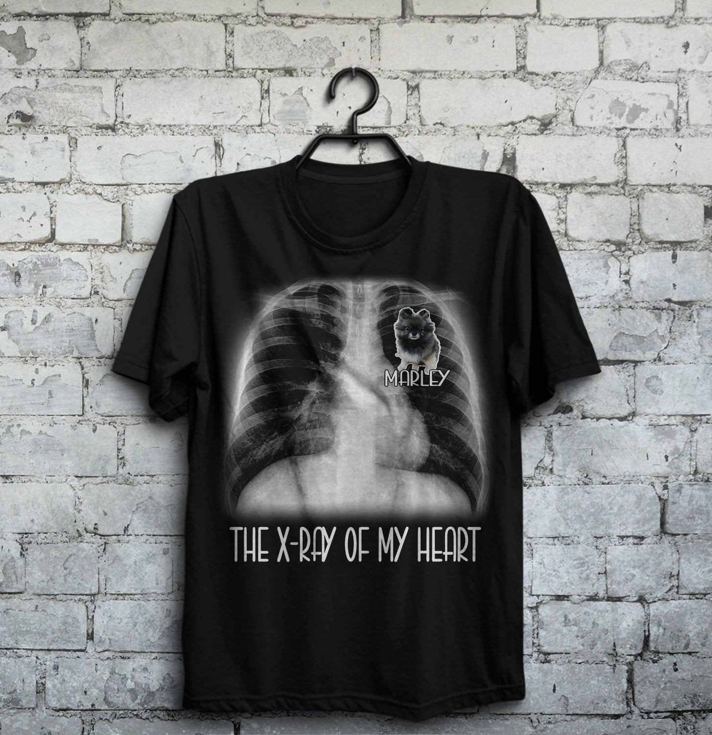 Personalized Dog Shirt - The X-ray of my heart Marley customer