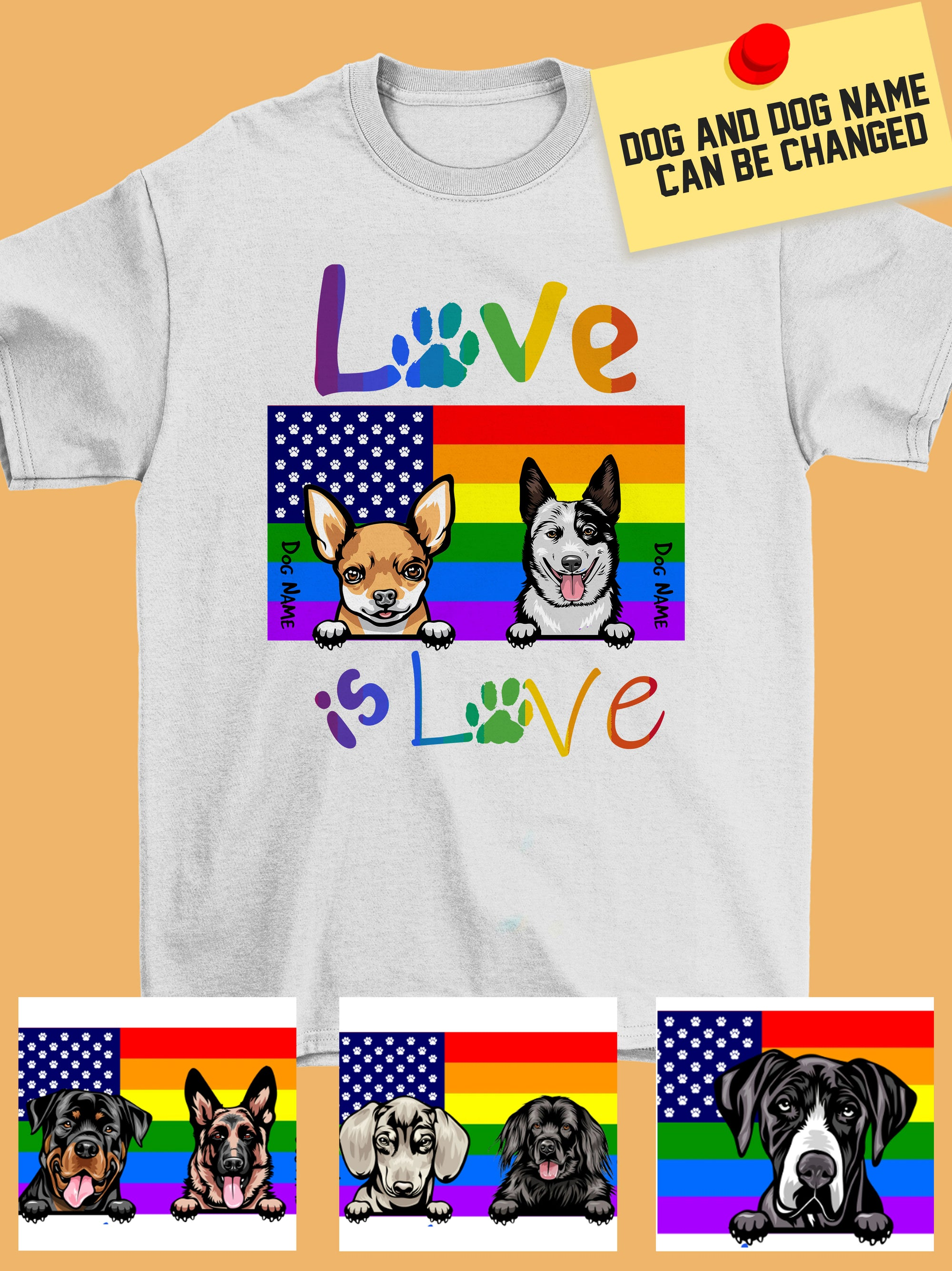 Personalized Dog Shirt - LGBT Love is Love - HVDS0042