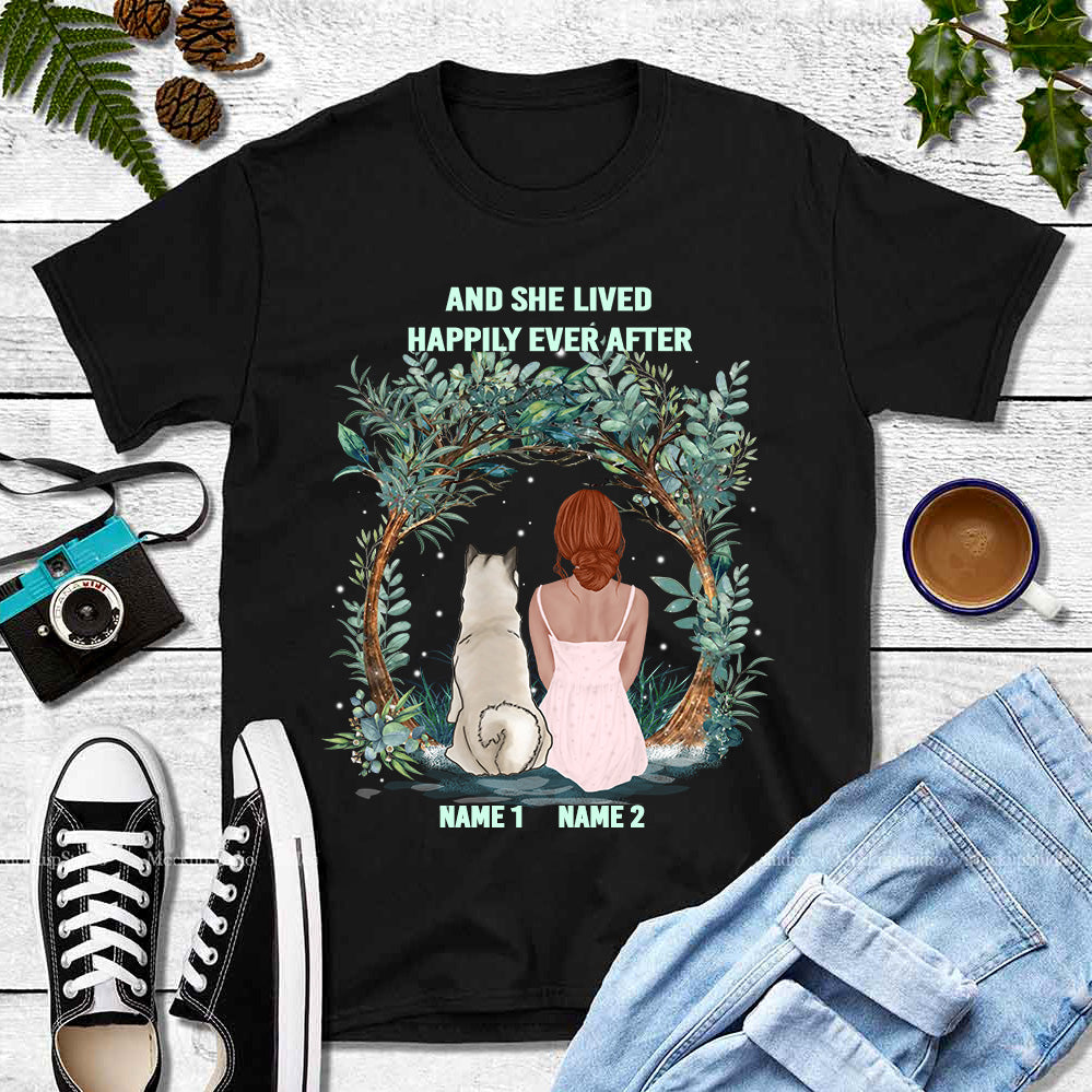 Personalized Girl & Dog Shirt - And She lived happily ever after