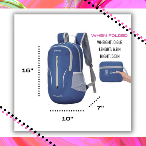Compact Foldable Packable Backpack for Men Women Dimensions