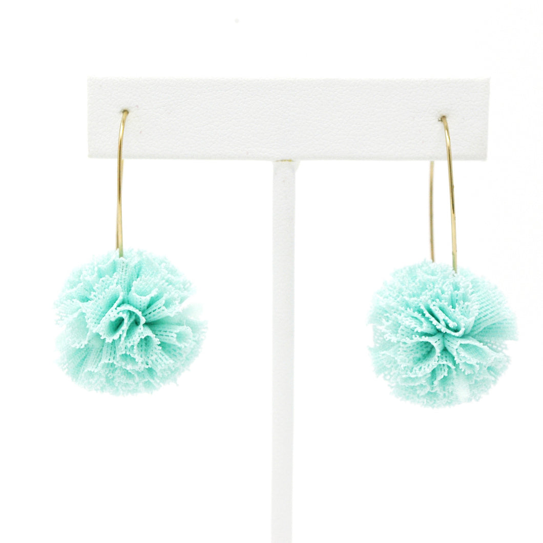 Ruffle Pom Earrings