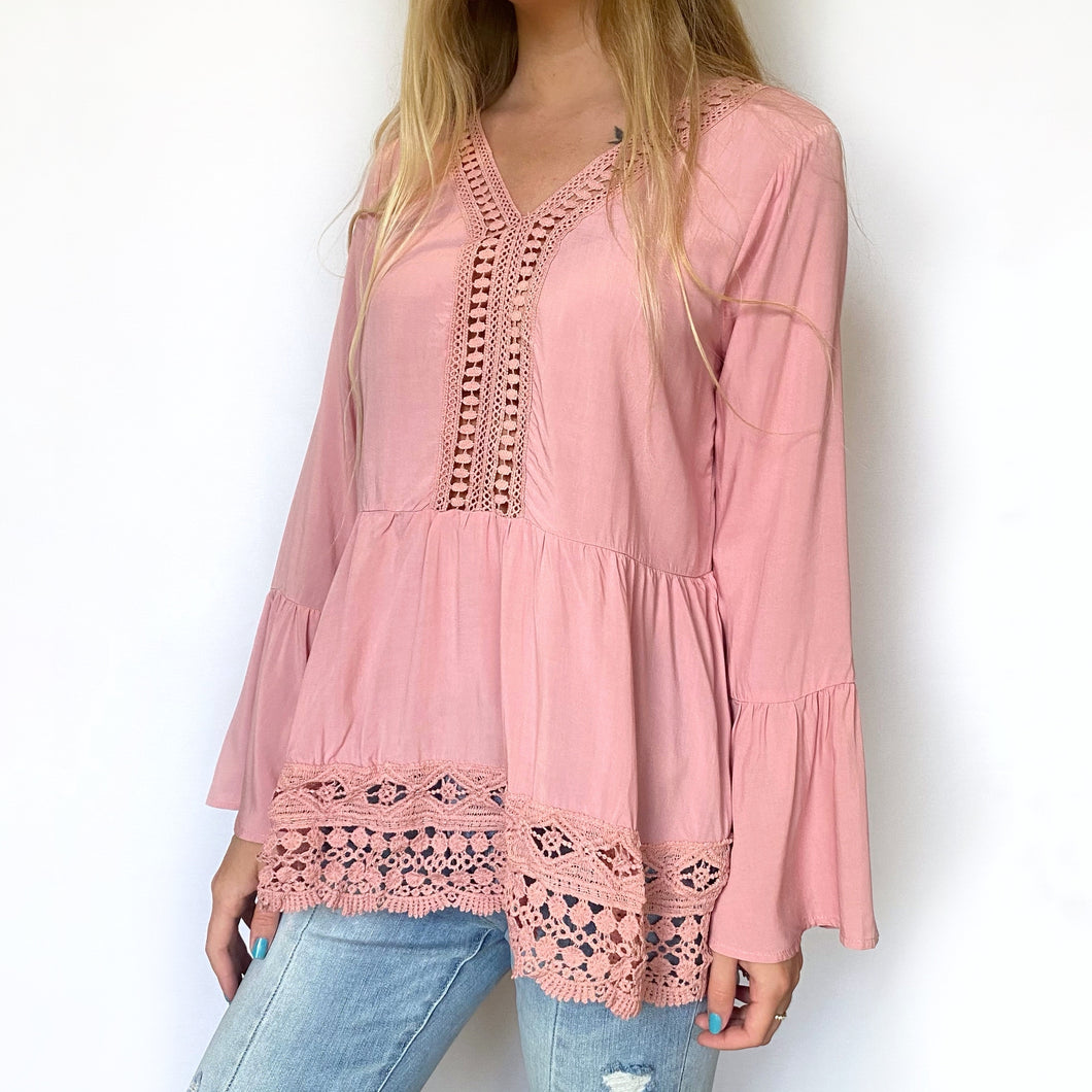 Bell Sleeve Lace Hem Top