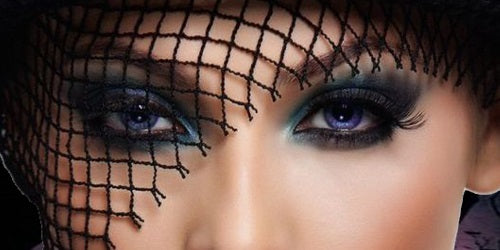 Eyes with heavy makeup
