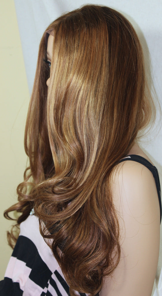 20 Brown Blonde Highlights Lace Front Glossy Lox Ready To Wear