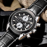 Leather Chronograph Military Watch
