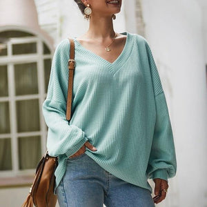 Long Sleeve V-Neck Pullover Sweater - fashionenvy