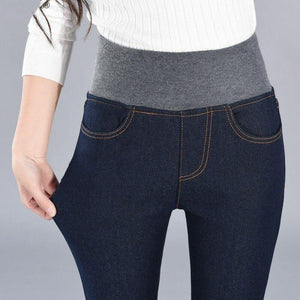High Waist Fleece Thermal Jeans - fashionenvy