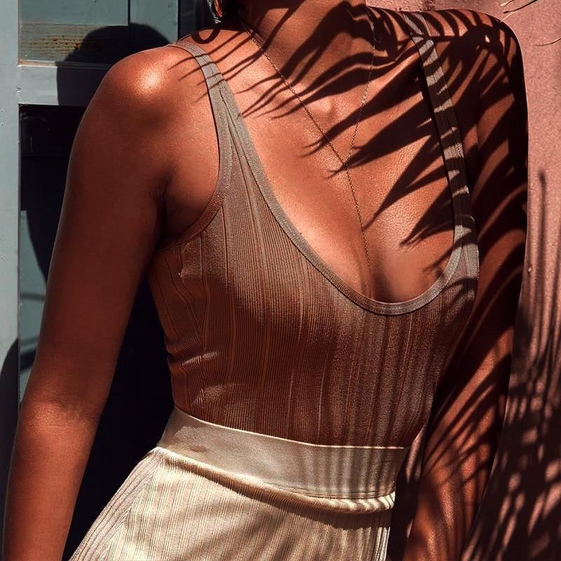 Women's Sexy Sleeveless Backless Bodysuit - fashionenvy