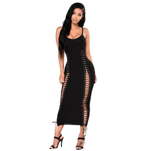 """Ribbed"" Spaghetti Strap Evening Party Dress"