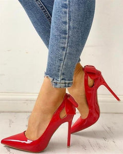 Pointed Toe Bow Style High Heel Pumps - fashionenvy