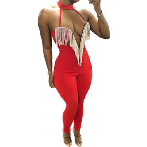 """Too Hot To Touch"" Sleeveless Backless Deep V Neck Tassel Jumpsuit"