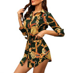 Load image into Gallery viewer, Long Sleeve Chain Print Shirt Dress