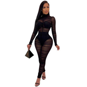Women's Long Sleeve Sexy Mesh Jumpsuit - fashionenvy