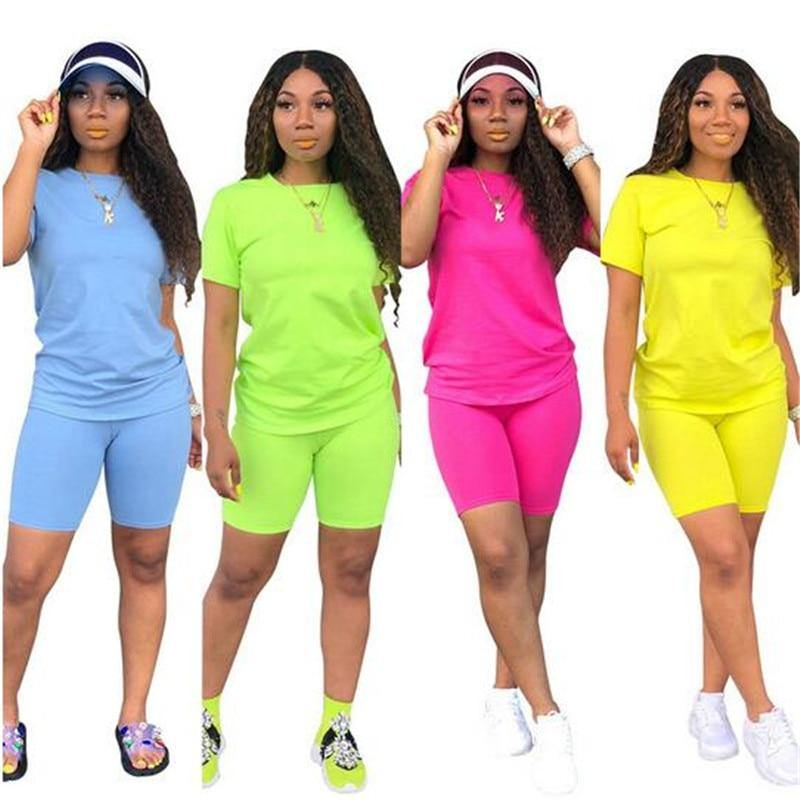 Women's Short Sleeve 2-piece Candy Color Short Set - fashionenvy