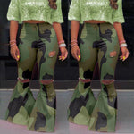 Load image into Gallery viewer, Camouflage Bell Bottom Ripped Jeans - fashionenvy