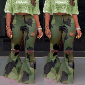 Camouflage Bell Bottom Ripped Jeans - fashionenvy