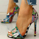 Load image into Gallery viewer, Summer Peep Toe Snake Print High Heels - fashionenvy