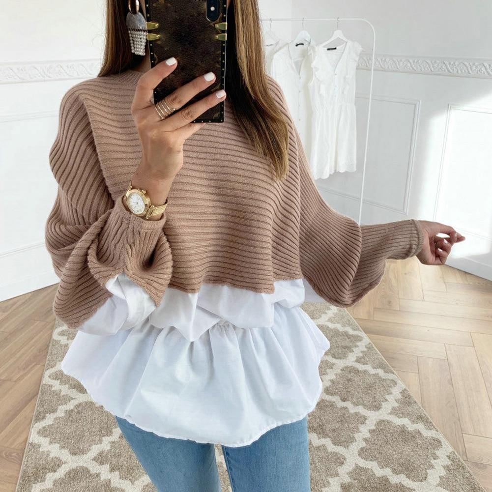 Long Sleeved O Neck Pullover Knitted Sweater - fashionenvy