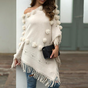 "The ""Miss Thang"" Off Shoulder Cozy Cloak Sweater - fashionenvy"