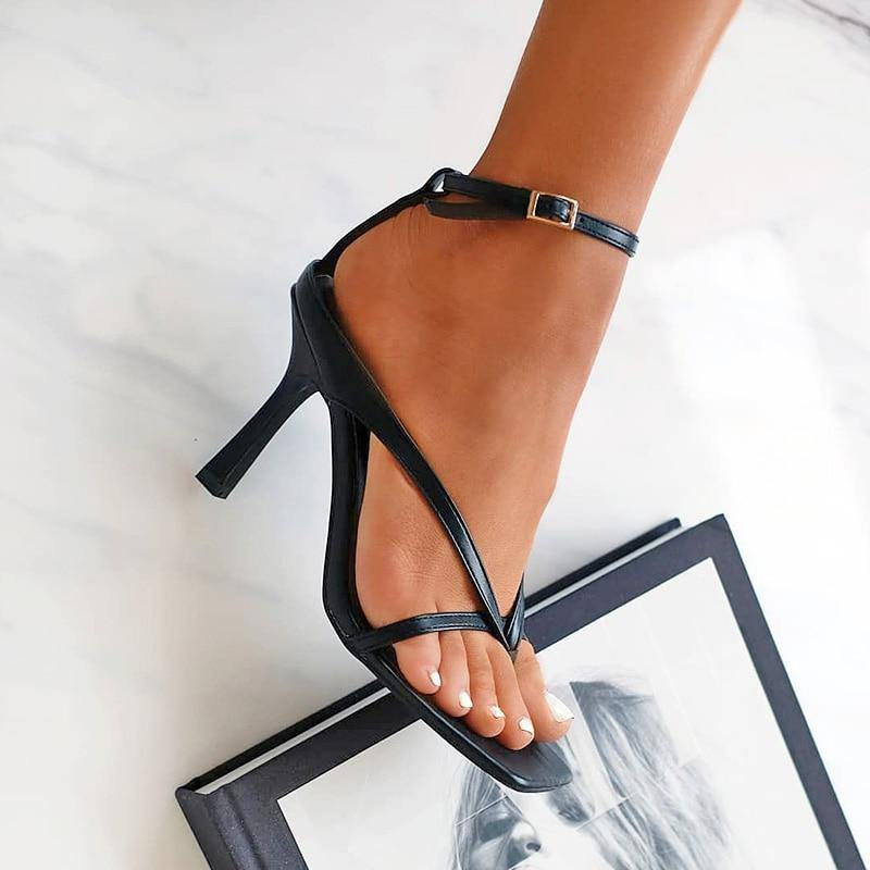 Sexy Square Toe Ankle Strap High Heels - fashionenvy