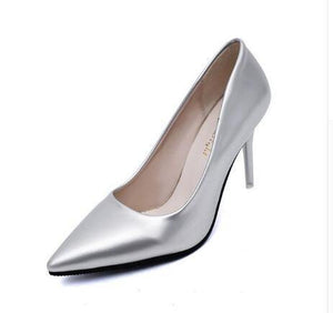 Pointed Toe Patent Leather High Heel Pumps - fashionenvy