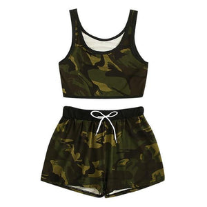 Camouflage Print 2 Piece Short Set - fashionenvy