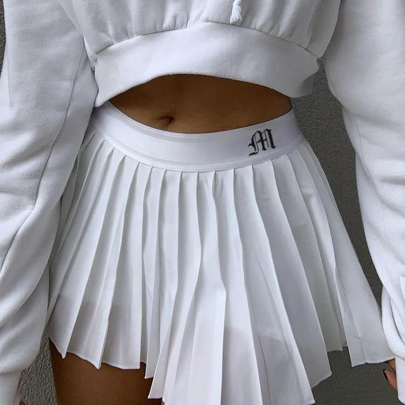 Women's Pleated Letter Print High Waisted Short Skirt - fashionenvy