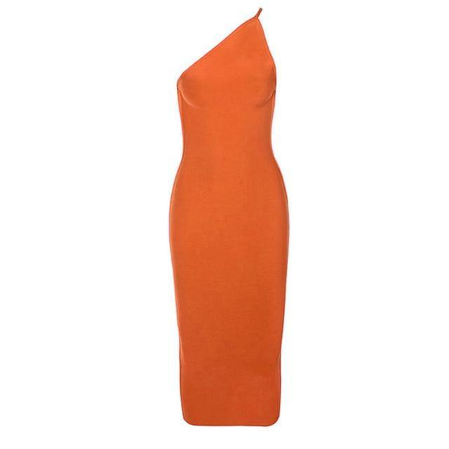 Women's Sexy Sleeveless One Shoulder Dress - fashionenvy