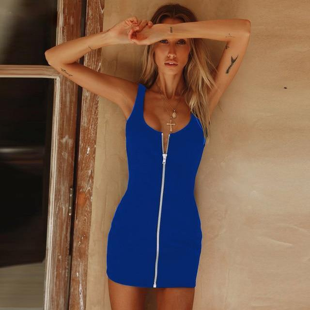 Women's Sleeveless V Neck Mini Dress - fashionenvy