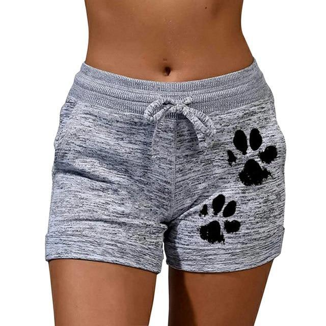High Waist Printed Drawstring Cat Paw Shorts - fashionenvy