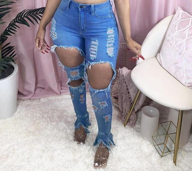 High Waist Ripped Hollow Jeans - fashionenvy