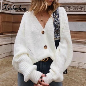 Button Down V-Neck Cardigan - fashionenvy