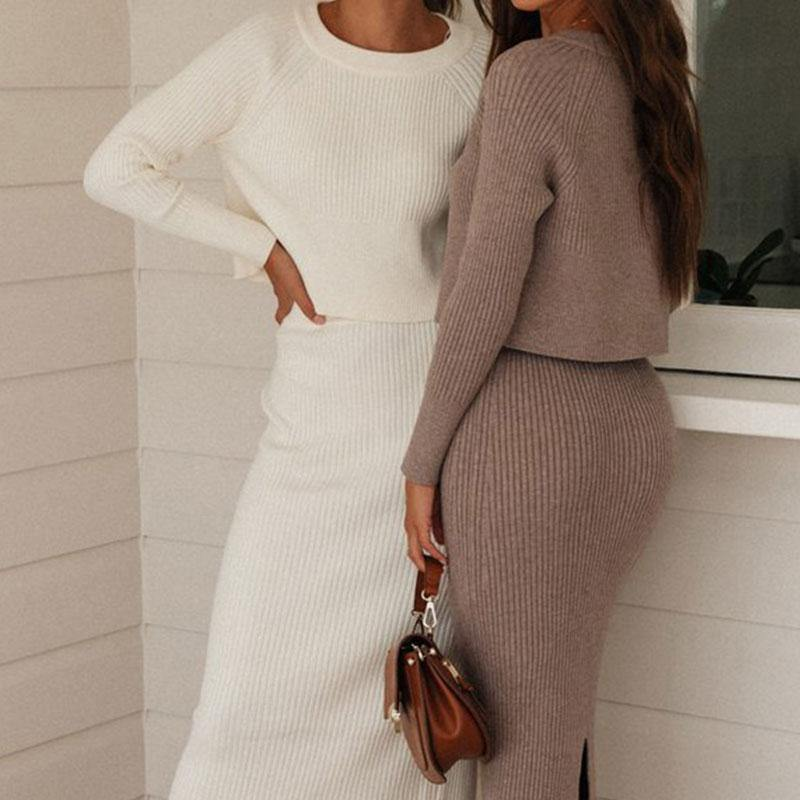 2 Piece Long Sleeve Knitted Sweater Set - fashionenvy