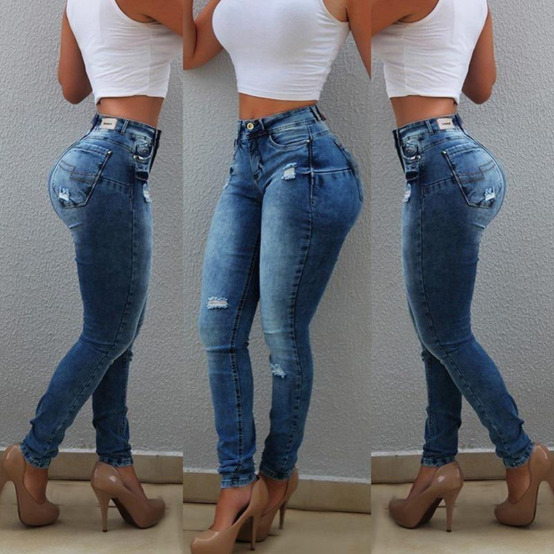 High Waist Elastic Ripped Skinny Jeans - fashionenvy