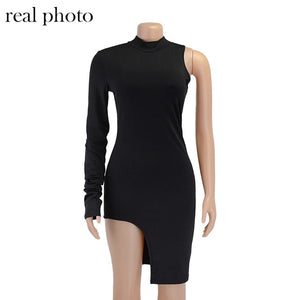 One Shoulder Long Sleeve Party Dress