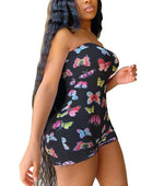Load image into Gallery viewer, Sleeveless Off Shoulder Butterfly Print Romper