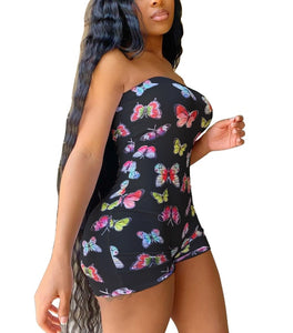 Sleeveless Off Shoulder Butterfly Print Romper