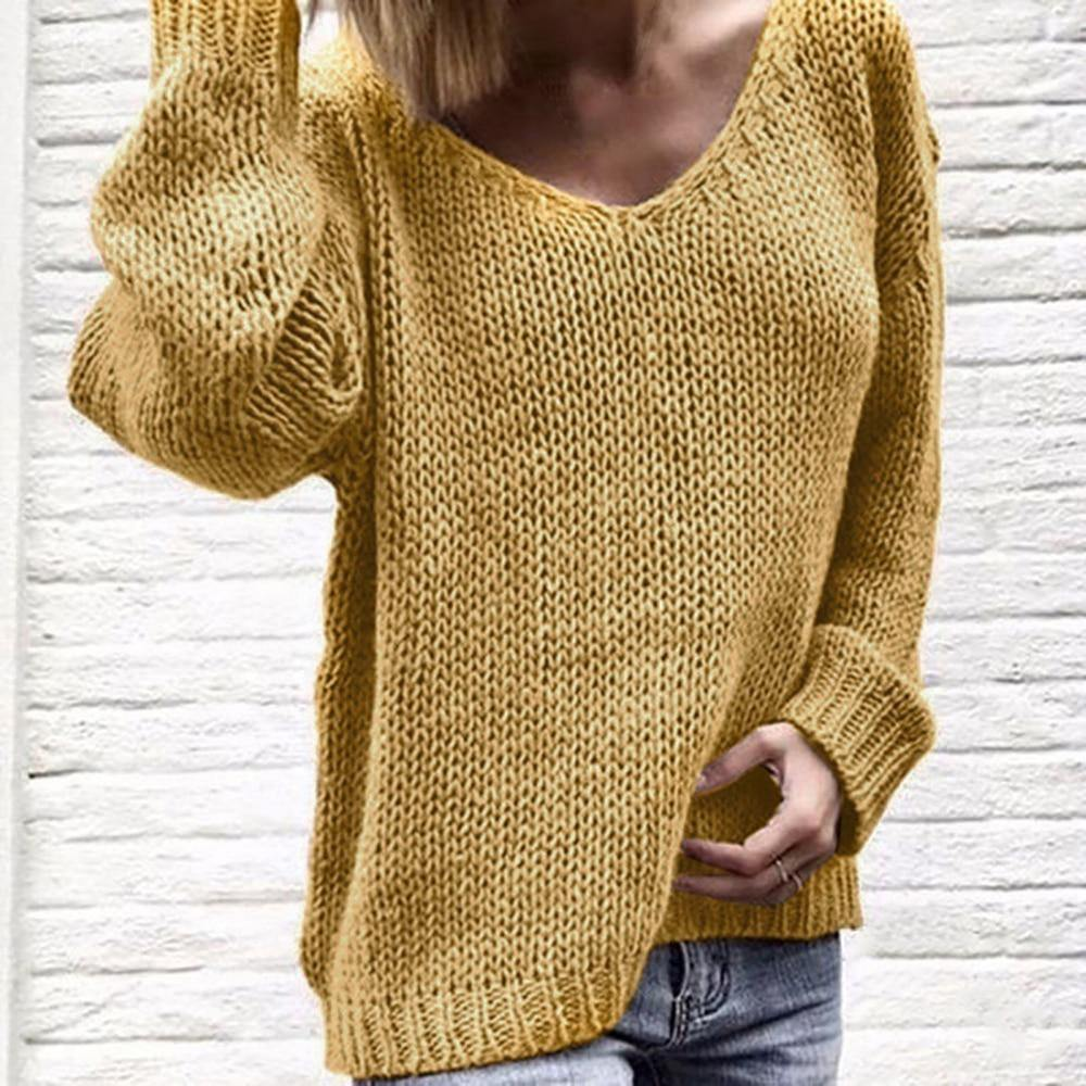 V-Neck Loose Knitted Casual Pullover Sweater - fashionenvy