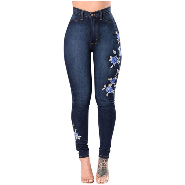 Printed High Waist Stretch Jeans