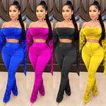 Load image into Gallery viewer, Women's Off Shoulder Strapless Crop Top Set - fashionenvy